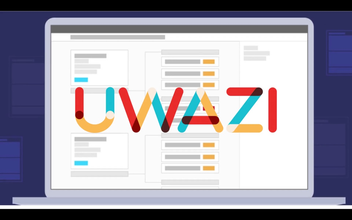 Uwazi logo on a laptop screen